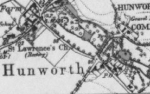 Hunworth Post Office OS Map 1st Edition
