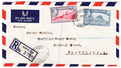 Gibraltar 1945 Registered