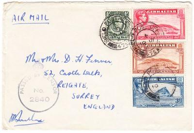 Gibraltar 1943 CDS black censor mark