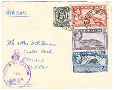 Gibraltar 1943 CDS purple censor mark