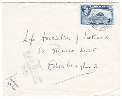 Gibraltar to Edinburgh RAF Censor