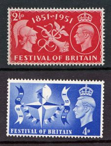 King George VI - Festival Of Britain 1951 - SG 513/514.
