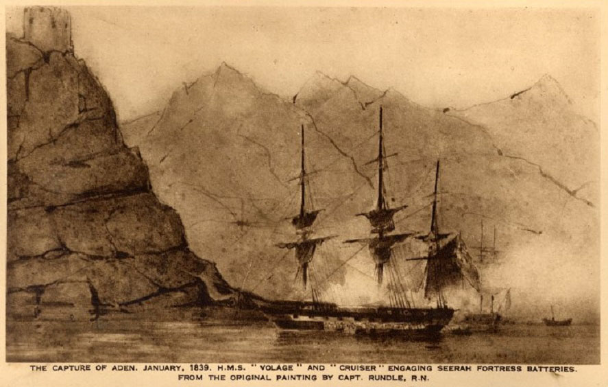 1839 capture of Aden painted by Captain J. S. Rundle